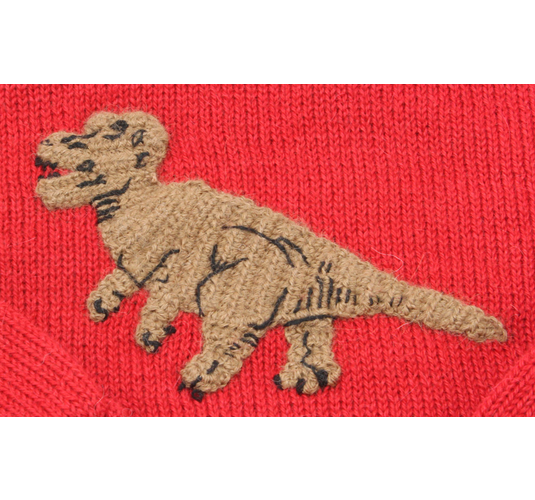 Close Up Image of Knitted Dinosaur on 100% Alpaca Sweater