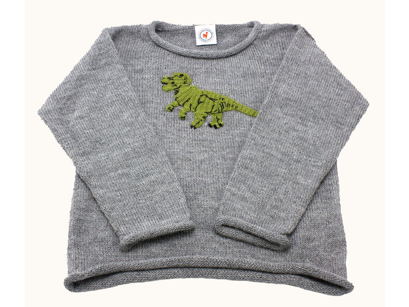 Knitting Pattern Jumper With Dinosaur : Dinosaur Grey Sweater - County Alpacas